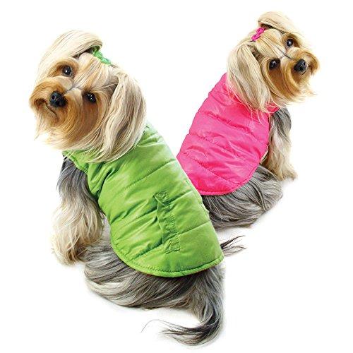Rüschen-kragen Mantel (Klippo Hund/Welpen Wendbar Parka Weste/Jacke/Mantel mit Rüsche Radkappen für Kleine Rassen-Lime/Pink, M, Green, Pink)