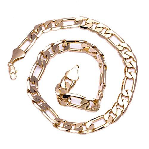 Figaro catena - oro 24 carati - massive unacollana - Uomo - Hip Hop Bling - 12 mm