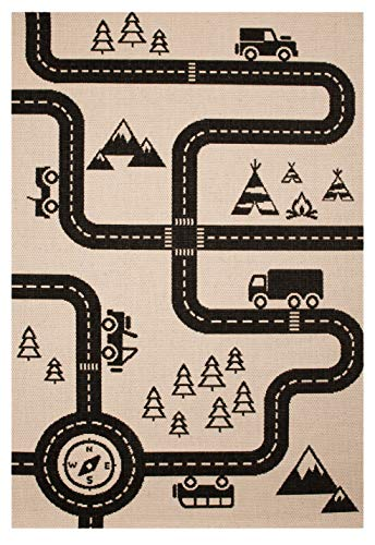 Zala Living Kinderteppich Spielteppich Road Map Charly Schwarz, 120x170 cm (In Der Home-baby-herz-monitor)