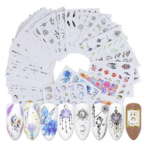 z und Weiß Damen Nagel Aufkleber, Blume Tier Einhorn Muster Nagel Aufkleber Dekoration, Persönlichkeit Muster Nagel Aufkleber, 6,4 * 5,3 cm, 40 Stücke Pro Set ()