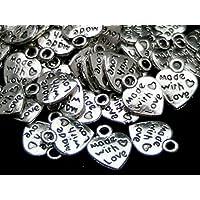50x Argento Tibetano Made with Love Cuore Ciondoli–San Valentino argento antico gioielli perline Crafting risultati