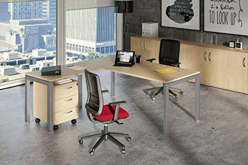 Ideapiu Schreibtisch Eiche 120 x 80 x 72 Verlängerter Strecke 80 x 60 cm Bridge Tischplatte laminiert, ohne Kanten, Gestell Metall, Aluminium -