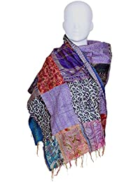 Indistar Vintage Silk Hand Quilted Kantha Hand Work Dupattas Reversible Scarves Scarf Patchwork Multicolor(80200... - B0767LCH9V