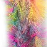 1 Stück gefärbte flauschige Federboa mit 182,9 cm Länge von Celine Lin mit Truthahn-/Marabu-Federn für Party, als Kostüm, als Schal, zur Hochzeit, als Raumdekoration. regenbogenfarben