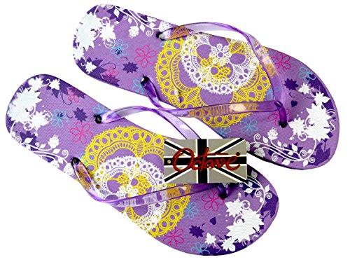 Octave , Tongs pour femme Lace Design - Purple