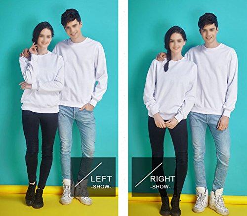 LaoZan Sweatshirt / Felpa a manica lunga da Unisex , Girocollo Tinta Unita Bianca + primavera