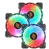 Noua Boreas DE53 PWM 3 Ventole 18 LED RGB Rainbow Addressable 5V 3pin Cooling Fan da 120 mm Silenziosa 6-Pin 1200rpm Controllabile da Scheda Madre 5V 3Pin ADD RGB