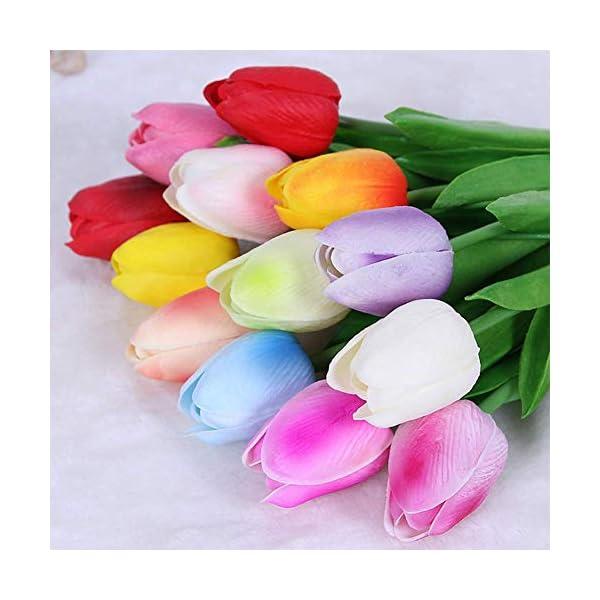 SparY Artificial Tulipanes, 12pcs Falso Flores de Tulipán Ramo – Auténtico Tulipa Ramos – para Hogar Cuarto de Estar Mesa de Comedor Adornos Boda – Aleatorio Color, Free Size
