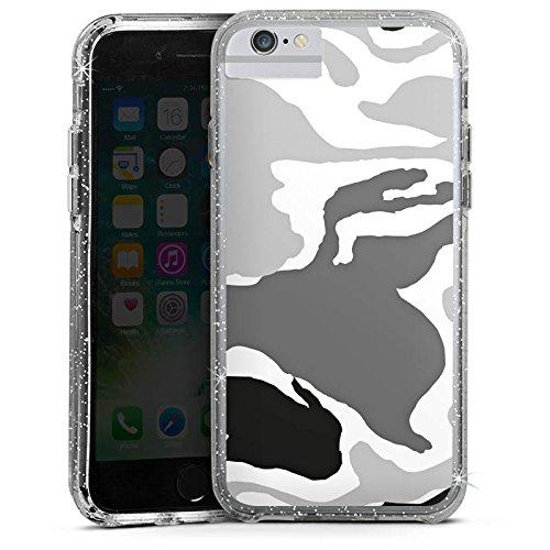 Apple iPhone 6s Bumper Hülle Bumper Case Glitzer Hülle Camouflage Muster Pattern Bumper Case Glitzer silber
