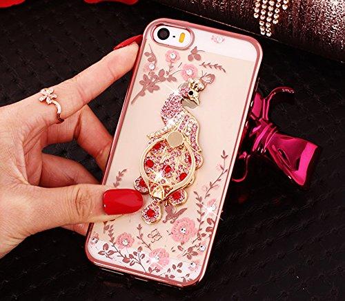 Nnopbeclik [Coque Iphone 5/5S/SE NWE] Diamant Fleur Motif Style Bijoux de Bande Briller avec Bague Doux Backcover Housse pour Iphone 5 Coque Silicone / Iphone 5S Coque Transparente / Iphone SE Coque H paon5
