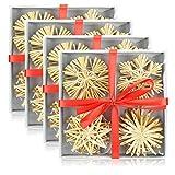 com-four Set di 48 Stelle di Paglia, Decorazioni per Alberi di Natale, Decorazione dell'albero di Natale, Ø 6 cm (48 Pezzi - 6 cm)