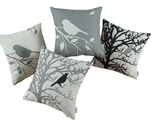 Satz von 4 CaliTime Kissenbezug Kissen Shell Vintage Vögel Zweige 45cm X 45cm Grau