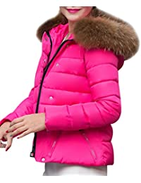 Yasong Women Faux Fur Hooded Quilted Padded Puffer Jacket Winter Short Overcoat Outerwear