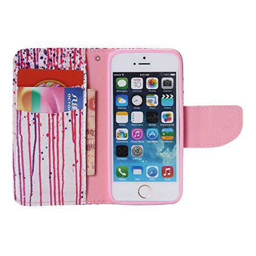 PU Cuir Coque Strass Case Etui Coque étui de portefeuille protection Coque Case Cas Cuir Swag Pour Apple iPhone 5 / 5s / SE +Bouchons de poussière (11LS) 7