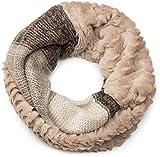 styleBREAKER Streifen Muster Wellen Strickloop Schal mit Kunstfelleinsatz, Strickschal, Damen 01018142, Farbe:Beige-Braun