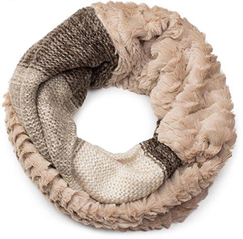 Stylebreaker sciarpa scaldacollo in maglia a righe con motivo ondulato e inserto in pelliccia sintetica, sciarpa in maglia, donna 01018142, colore:beige-marrone