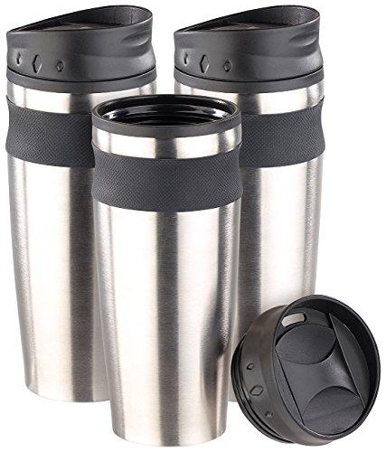Rosenstein & Söhne Thermo Kaffeebecher: XL-Edelstahl-Isolierbecher, warm & kalt, doppelwandig, 450 ml, 3er-Set (Thermobecher mit Schraubdeckeln)