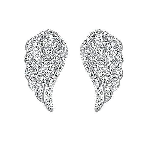 ZPXLGW 925 Boucles D'oreille En Argent Sterling Ailes D'ange,Silver-L