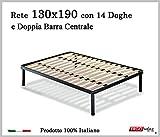 Ergorelax Rete per materasso a 14 doghe in faggio VIENNA con Doppia Barra Centrale 100% Made in Italy - 130 cm x 190 cm