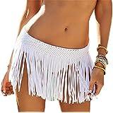 YARBAR Mujeres elásticos de la cintura de la falda de ganchillo de la borla con flecos Mini playa cubre la falda