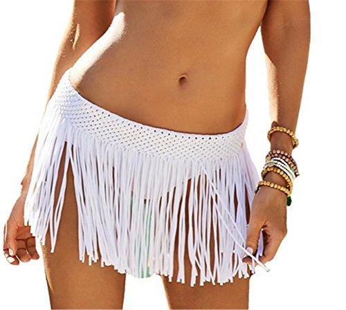 YARBAR Mujeres elásticos cintura falda ganchillo
