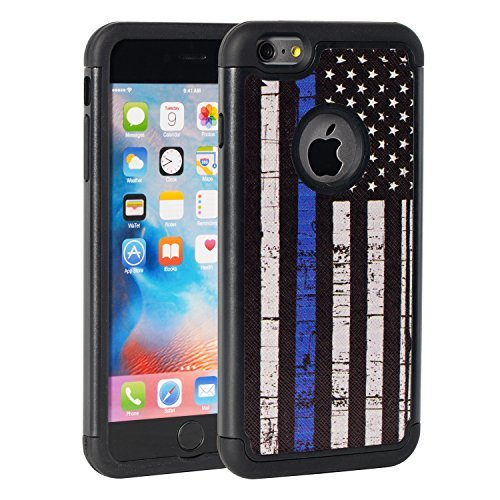 iPhone 6 Plus Case, iPhone 6S Plus Fall, Rossy Dünn Blau Line American Flagge Design Dämpfung Drop Schutz Hybrid Dual Layer Rüstung Defender Schutzhülle für Apple iPhone 6/6S Plus (Iphone 4 Amerikanische Flagge Fall)