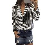 Damen Tops ,LMMVP Frauen Langarm Gestreift Bedruckt V-Ausschnitt Casual Bluse (M, Black)
