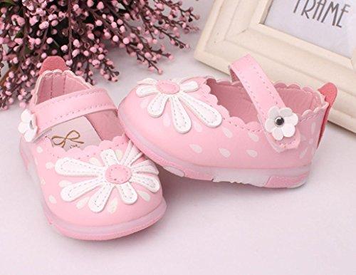 Pour 3-5,5 ans Bébé,Transer ® Mignonne fleur Éclairé Toddler chaussures souples anti-dérapant Princess chaussons fille Rose