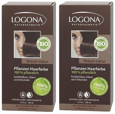 Logona Henna Haarfarbe Pflanzenhaarfarbe braun natur im Doppelpack 2 x 100 g