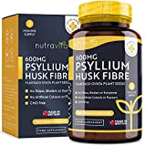 Psyllium Husk Fibre 600mg - 180 Vegan Capsules - 1200mg Per Serving - Made from 100% Pure Plantago Ovata Plant Seeds - No Binders or Fillers - Made in The UK by Nutravita