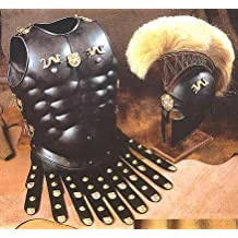 Halloween Costume Collectible Greek Roman Muscle Armor with Black Corinthian Helmet by NAUTICALMART
