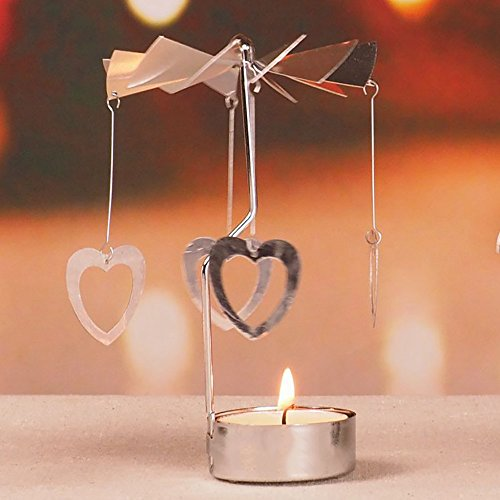 RETON 2 piezas de metal giratorio titular de la vela de té de plata bricolaje titular de candelabro de giro para la decoración del festival en casa + 8pcs velas de candelabro (Corazón & Estrella)