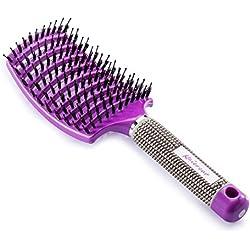 Cepillo Kaiercat de cerdas de jabalí. El mejor en desenredar cabello grueso, ventilado para un secado más rápido; con cerdas de jabalí 100% naturales para la distribución del aceite en el cabello (púrpura)