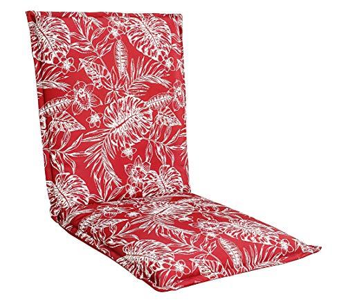 Dehner Niederlehner Wende-Auflage Porto, ca. 105 x 50 x 6 cm, Polyester, rot/weiß