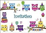Carte d' en francais Lot 10 invitations pour anniversaire de filles / enfant, motif avec les hiboux mignons (10645 FR)