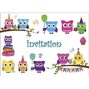 Edition Colibri Carte D En Francais Lot 10 Invitations Pour Anniversaire De Filles Enfant Motif Avec Les Hiboux Mignons 10645 Fr