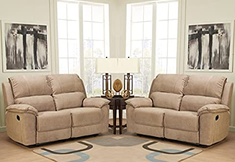 Beige Brown Reclining Fabric Material 2 Seater Sofa + 2 Seater Recliner Sofa Suite DEBBY (2+2)