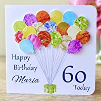 Personalised Birthday Card, Handmade Colourful Balloons Including Name, Any Age 60th 70th 50th 40th