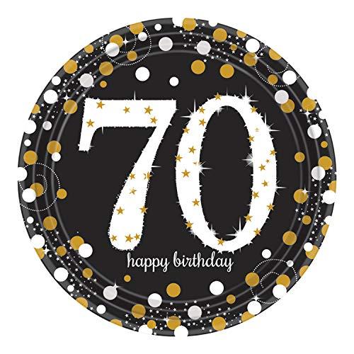 amscan 551964 AM 8 Teller Sparkling Celebration 70, Schwarz, Gold, Weiß