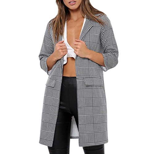 Longra Damen Mantel Trenchcoat Lang Mantel mit Plaid Damen Winterjacke Parka Cardigan Frauen Übergangsjacke Outdoorjacke Lang Slim Manteljacke (Black, - Plaid Trenchcoat