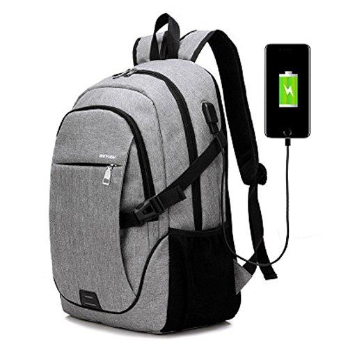 Zaino da viaggio del sacchetto di viaggio dello zaino dello zaino resistente all'acqua dell'acqua con il porto di ricarica del USB (Black) Gray