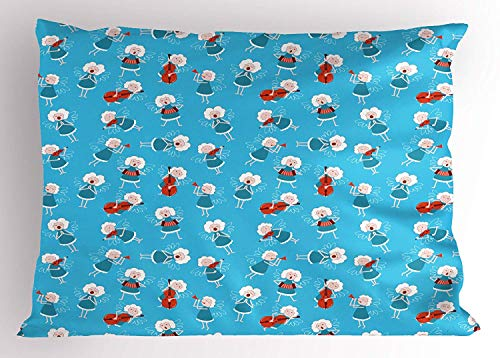 Ejjheadband Angel Pillow Sham, Music Angels Playing Violin Flute Kazoo Saxophone Trumpet Elf Harp Cello Fantasy, Decorative Standard Queen Size Printed Pillowcase, 30 X 20 inches, Blue Red White