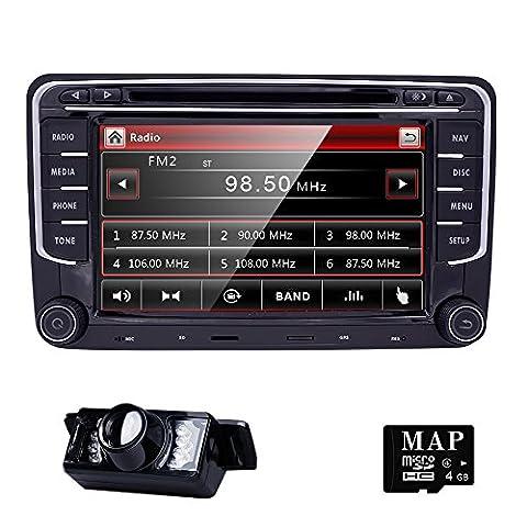 HIZPO 2 Din Autoradio Naviceiver für Jetta Golf Passat mit 7 Zoll Touch Screen GPS Navigation Bluetooth Freisprechfunktion CanBus DVD CD Player
