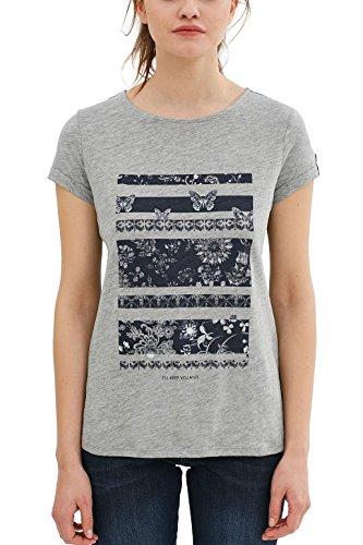 edc by Esprit 047cc1k062, T-Shirt Femme Gris (Light Grey 5)