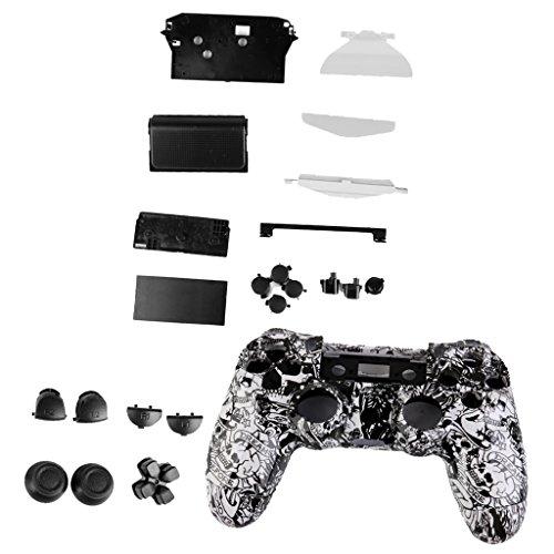 Preisvergleich Produktbild FLAMEER Für PS4 Controller Mod Kit ABS Hülle Abdeckungs Haut Kasten mit Controller Tastensatz - Weiß Schädel