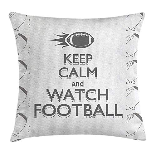 Football Throw Pillow Cushion Cover, American Sport Play Keep Calm Quote Monochrome Rocket Ball Vintage Label, Decorative Square Accent Pillow Case, 18 X 18 Inches, Black White Grey