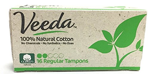 Veeda Natural All-Cotton Tampons, Regular, Non-Applicator, 16 Count