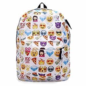51rhvhrqvdL. SS300  - King Do Way Emoji mochila escolar de lona para portátil, para niños, niñas, estudiantes, viajes, libros, bolsa de hombro