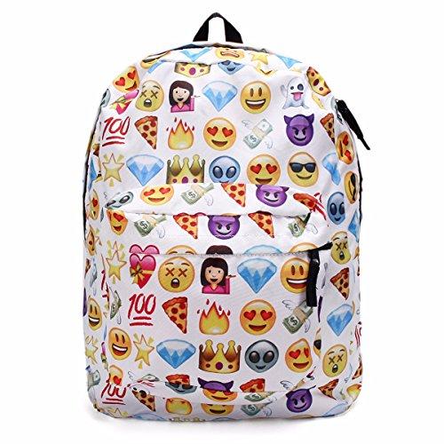 King do way, zaino in tela con emoji per la scuola, per bambini, studenti, viaggi, libri, borsa a tracolla