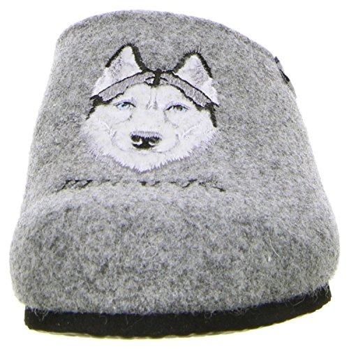 TOFEE Herren 74-1010 Hund Huskys Pantoffeln Grau